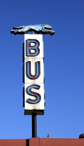 greyhound bus station neon sign