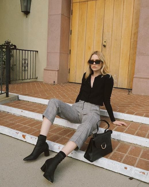 Le Fashion Blog Casual Blogger Outfits Rectangle Sunglasses Black Button Up Blouse Plaid Grey Cropped Pants Black Heeled Sock Boot Via @Meganadelaide