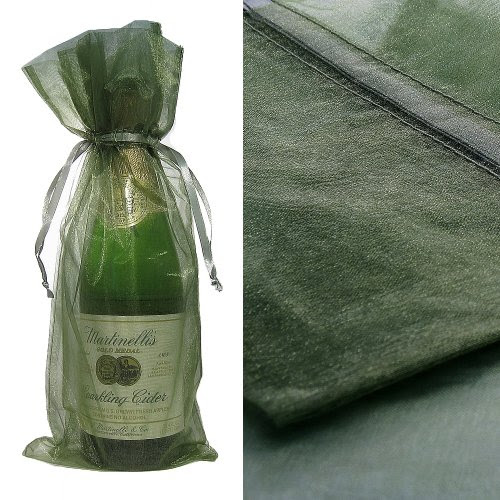 Green Organza Wine Bottle Favor Gift Bags (Set of 10)