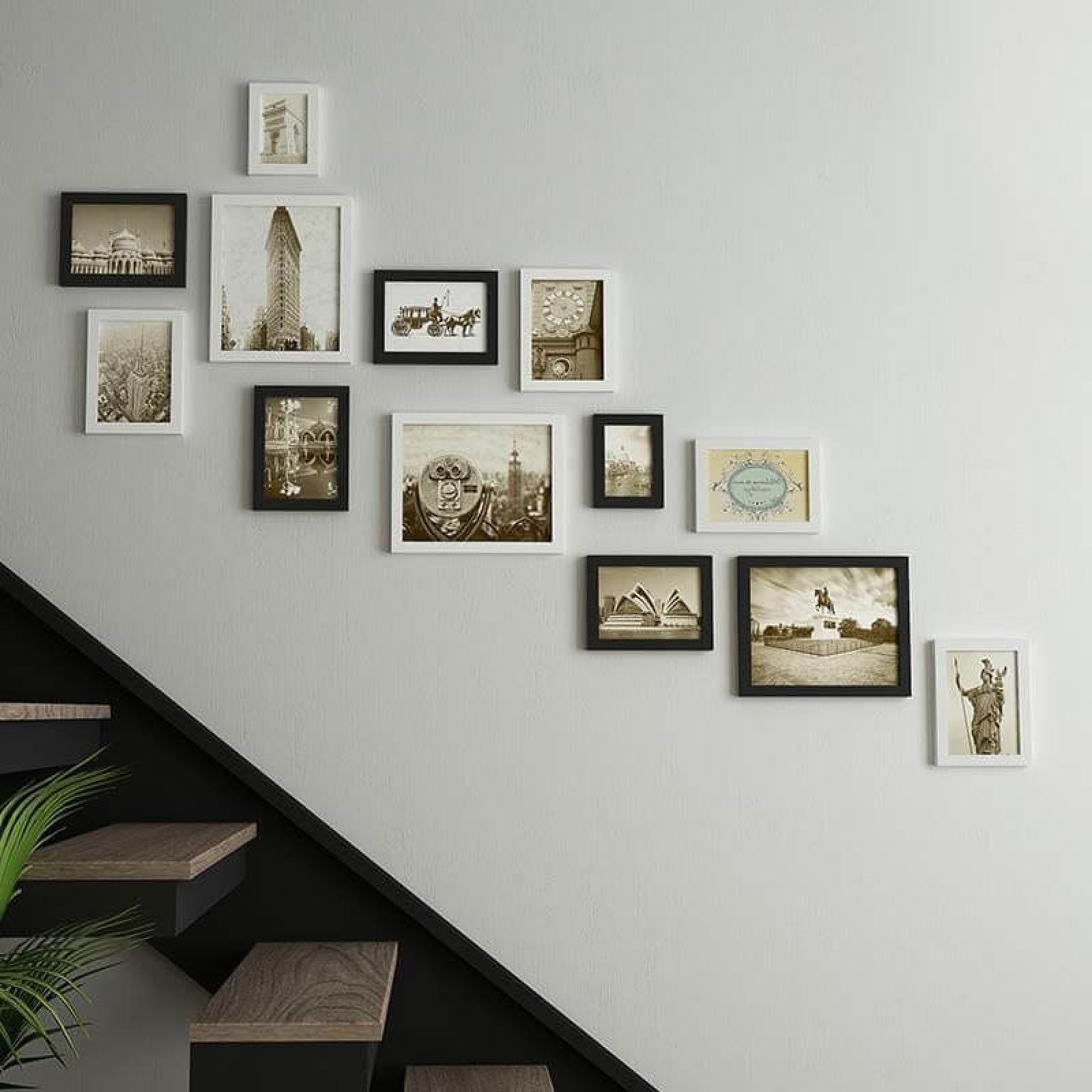 13pcsset Wood Luxury Photo Frame Staircase Wall Home Decor