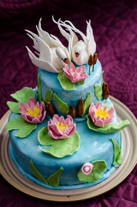Swan Water Lily Cake   Just Cake   Cake, Lily cake