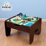 KidKraft 2-in-1 Activity Table with Lego and Train Set in Espresso - 17577