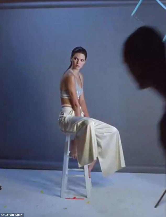 Hot stuff: Kendall Jenner stars in a video for Calvin Klein - along with Justin Bieber - for the brand's new spring campaign