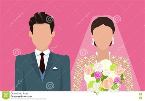 Wedding Day Web Banner. Newlyweds Couple Design Cartoon