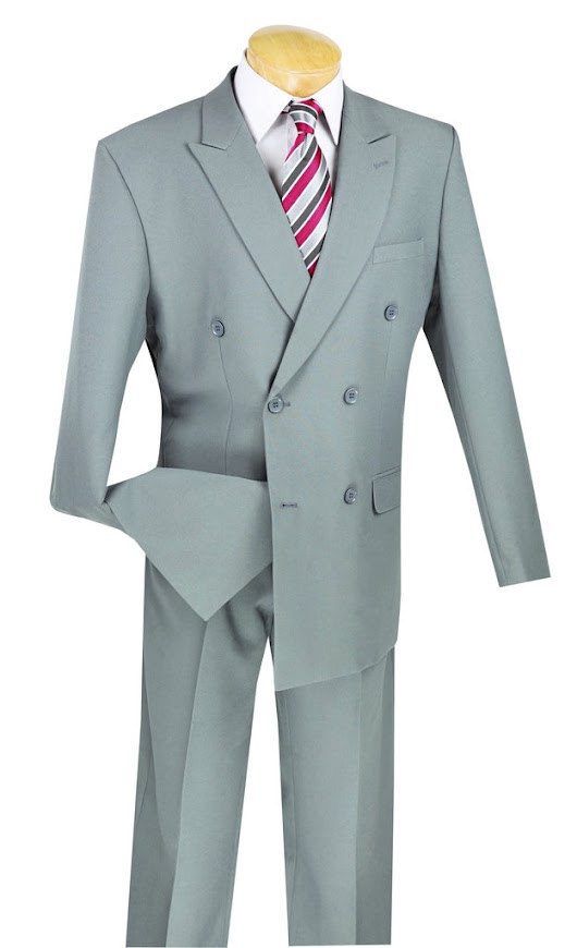 Atlantis Collection - Gray Regular Fit Double Breasted Suit 2 Piece