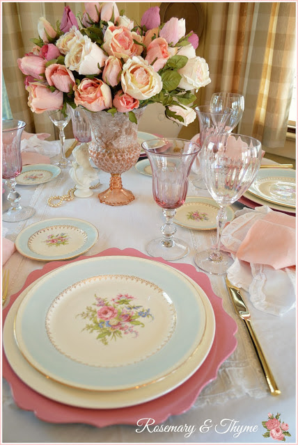 Feminine table setting by Rosemary and Thyme