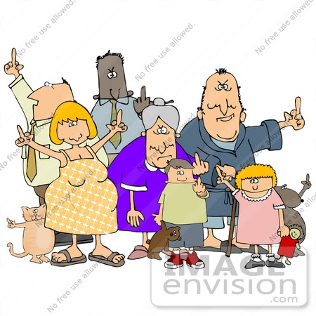 #29829 Clip Art Graphic of a Group of Rude People Holding up Their Middle Fingers by DJArt