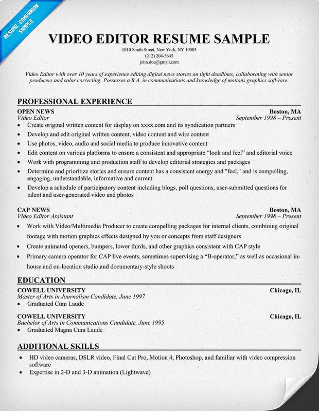 Example Resume Sample Resume Video