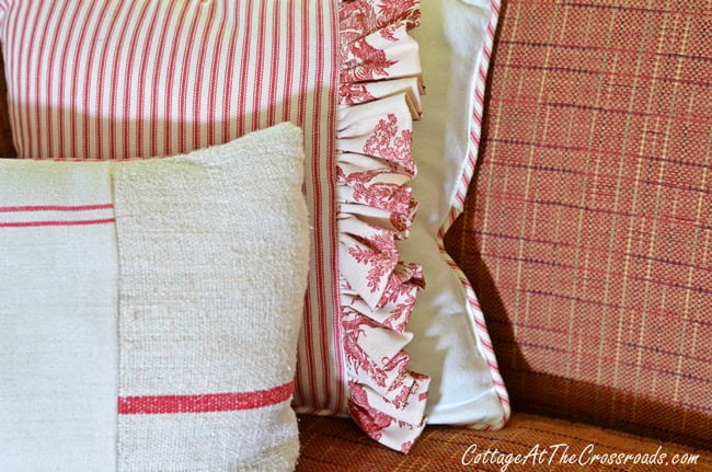 toile, ticking, and grain sack pillows | Cottage at the Crossroads