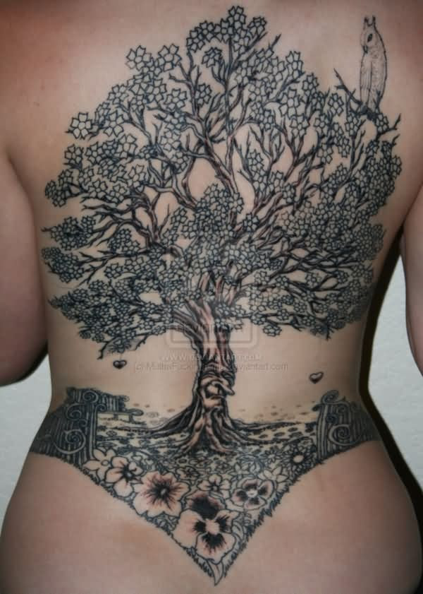 Flowers And Tree Tattoo On Back