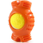 Fluffy Paws Pet Tennis Ball, Squeaky Dog Toy with Textured Fat Bone Sq