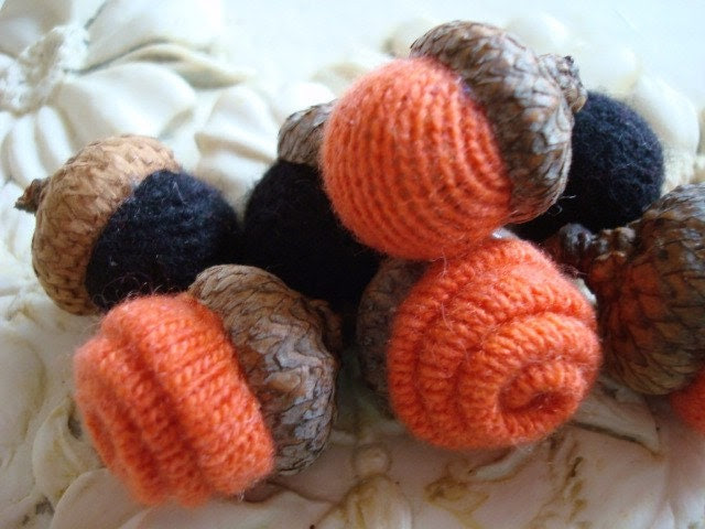 7 CASHMERE ACORNS Jet Black and Orange Bowl Fillers Felt Felted Wool Acorn Halloween Shabby Chic