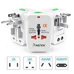 Insten 2 Pack Universal Travel AC Plug Power Charger Adapter for US UK EU au Worldwide International, White