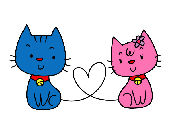 Dibujo De Gatos Enamorados Pintado Por Flenchita En Dibujosnet El