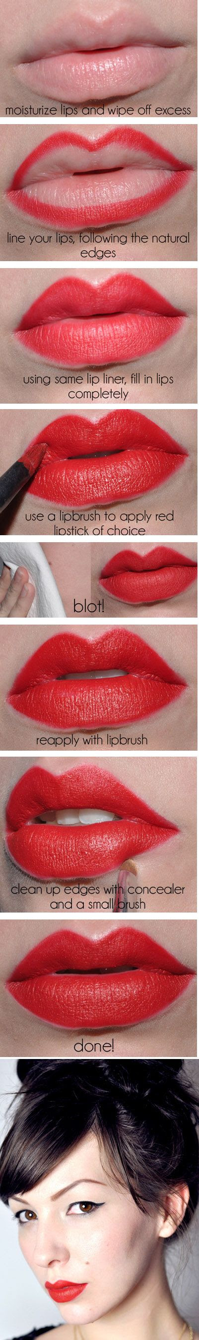 Vintage-Inspired Red Lips | 22 Beauty Tutorials For Dramatic Holiday Looks