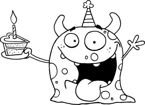 Dibujo De Monstruo Feliz Celebrando El Cumpleaños Con Una Tarta Para
