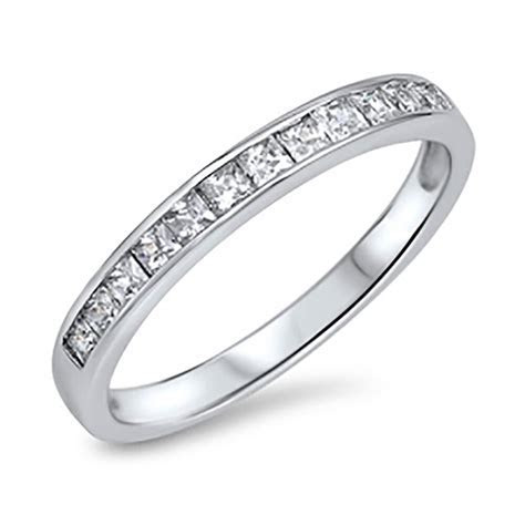 Sterling Silver 925 Women's CZ Princess Anniversary