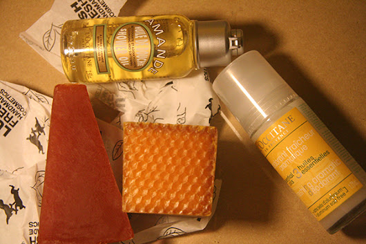 April 2016, Body Care Haul: L'Occitane Amande Shower Gel and Refreshing Aromatic Deodorant, LUSH Karma and Honey I Shrunk the Kids soap