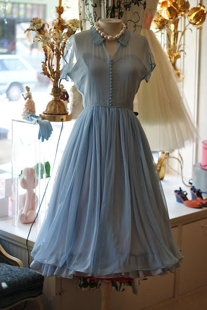 elegant aline doll collar short sleeves blue chiffon