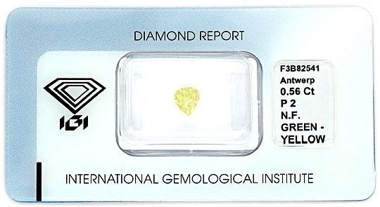 Foto 1, FANCY GREEN-YELLOW DIAMANT 0,56 ct TROPFEN-SCHLIFF, IGI, D6183