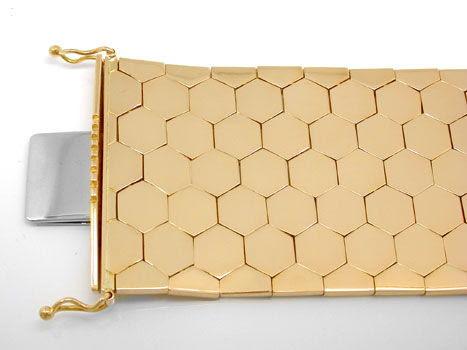 Foto 1, Waben-Armband, Rötliches Gelbgold 18K/750 Luxus! - Neu!, K2919