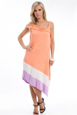 Apparel Showroom Orange Contrast Hem Plus Size Dress