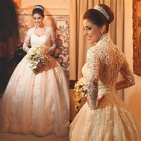 Vintage Lace Wedding Dresses With Long Sleeves 2015
