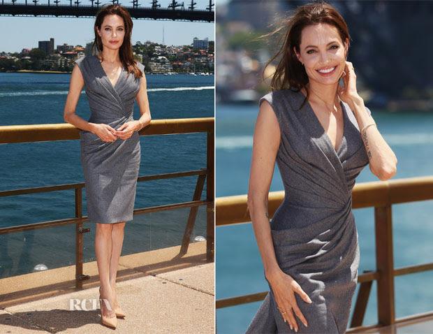 Angelina Jolie In Atelier Versace - 'Unbroken' Sydney Photocall