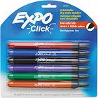 Expo Click - Marker - non-permanent - for glass, whiteboard - black, red, blue, green, orange, purple - fine - retractable - pack of 6