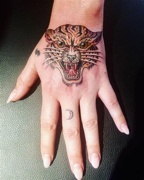 traditional tiger head tattoo keshas left hand