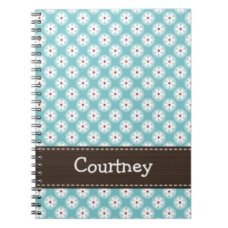 Turquoise Blue Red Daisy Spiral Notebook Journal notebook