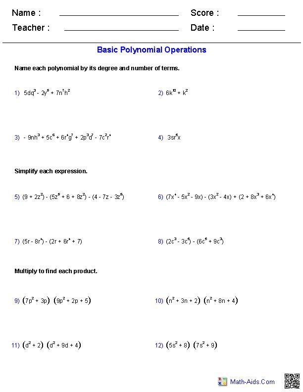 Algebra 2 Worksheets Dynamically Created Algebra 2 Worksheets