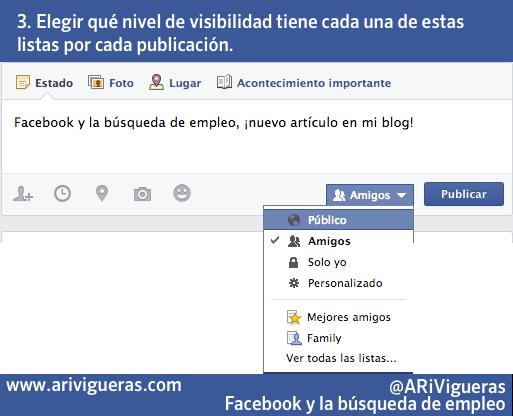 Utilizar Facebook para buscar empleo: visibilidad de las publicaciones. Un post de @ARiVigueras