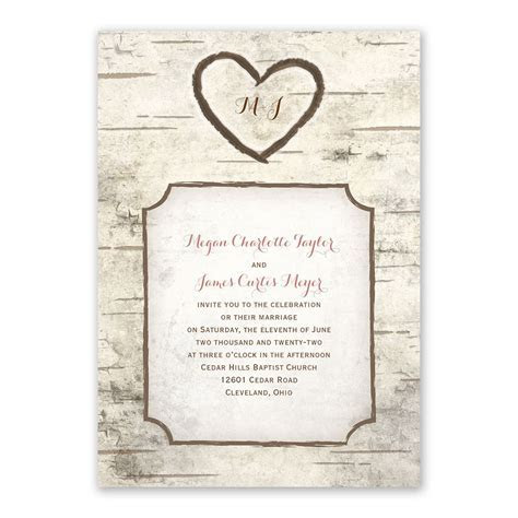 Birch Tree Carving Invitation with Free Response Postcard