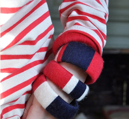 Red, white and blue cloth bangles for summer!