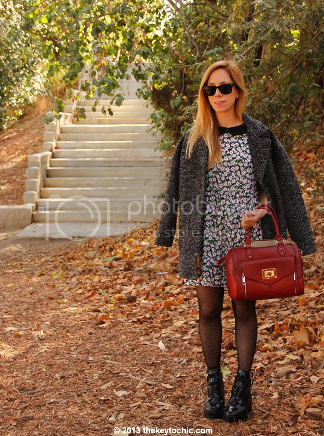 L.A. fashion blogger The Key To Chic wears a Motel floral Betty dress, Zara lug sole lace-up boots, Aldo Deniken handbag, and H&M boyfriend coat