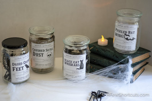DIY Halloween Apothecary Jars & Printable - A Few Shortcuts