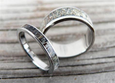Titanium And Deer Antler Wedding Band Set, Wedding Ring