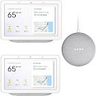 Google Home Hub X2 w/Google Assistant & Google Home Mini Speaker (Chalk) Bundle