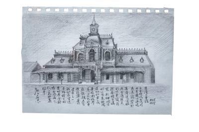 圖為基隆火車站手繪圖, 老建築裡盡藏雞籠身世。