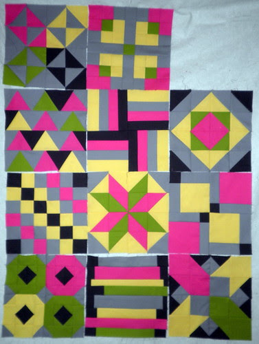 My 11 blocks so far for the Patchwork Squared Modern Solids Quilt Along