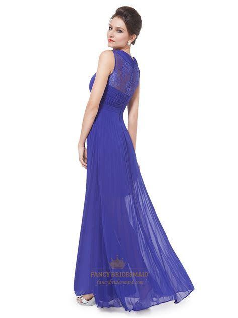 Royal Blue Pleated Maxi Dress,Women's Elegant Sheer Lace