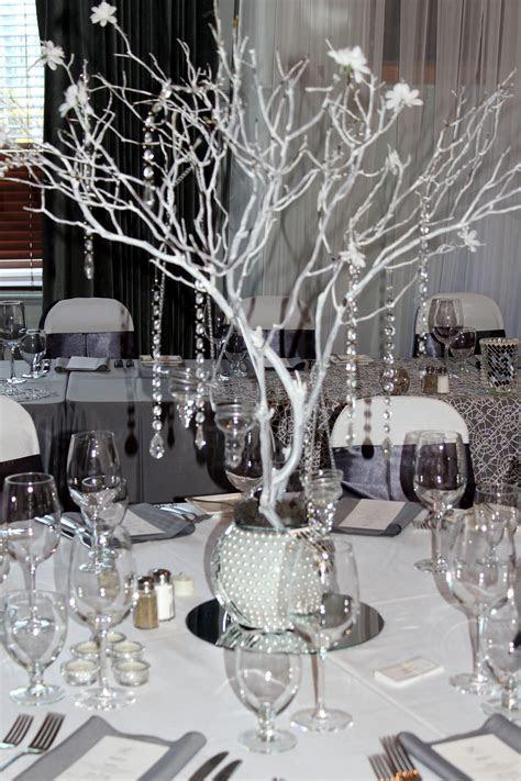 Manzanita centerpiece, Grey Silver White bling wedding