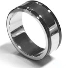 SilverPeace High Polish Stainless Steel Band Ring with Black Edge Fair Trade