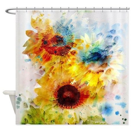 Watercolor Sunflowers Shower Curtain by ShowerCurtainShop
