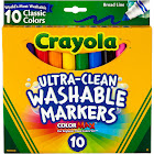 Crayola Ultra-Clean Washable Markers, Classic Colors - 10 count