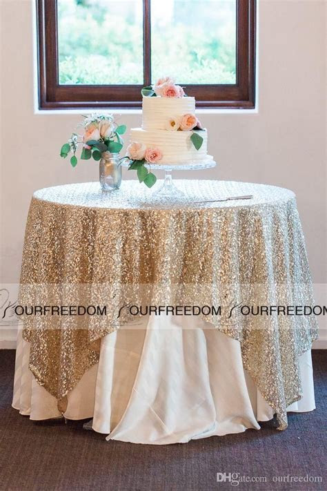 Round Champagne Sequin Cloth Sequin TableCloth Wholesale