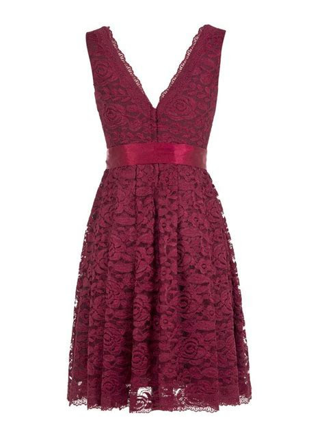 Short V Neck Burgundy Lace Bridesmaid Dress with Sash