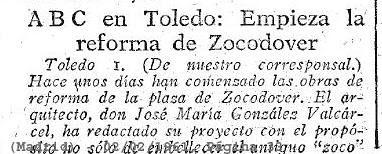 Anuncio de las Obras de reforma de Zocodover en 1961 escrito por Luis Moreno Nieto en ABC