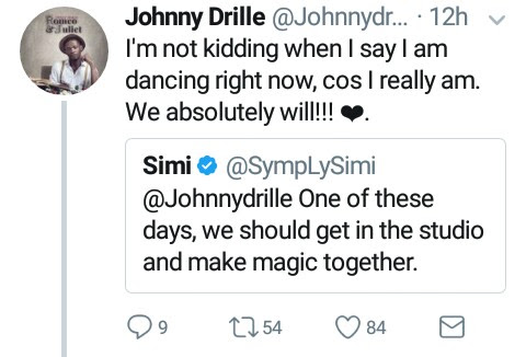 Simi (@symplysimi) and Johnny Drille (@johnnydrille) set to work together on a track.